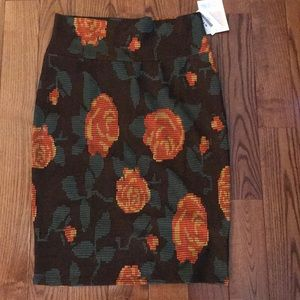 LuLaRoe Brown Skirt with Flower Design